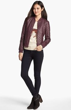 Halogen® Quilted Leather Bomber Jacket (Regular & Petite) available at #Nordstrom