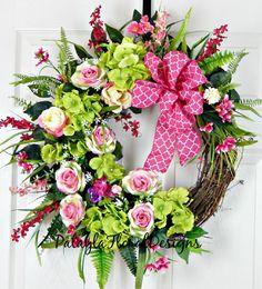 Valentine's Rose Wreath, Spring Summer Wreath, Hydrangea Door Wreath, Pink and Lime Green, Valentine Decoration, Valentine Roses, Love Decor