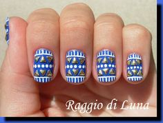 Born Pretty Store Review: Golden Triangle Nail Art Studs - Tribal manicure with golden triangle studs
