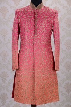 Samyakk Wedding Sherwani-Shaded Pink & Orange-Zari Work-SH275 Pocket Pinch: INR 33,490.
