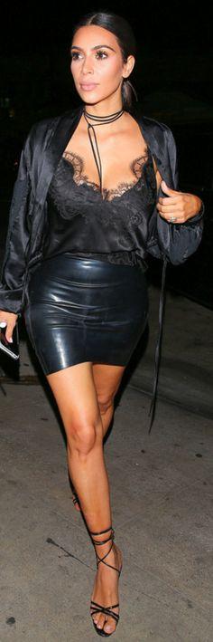 Kim Kardashian: Shirt – My Style Mode  Skirt – Atsuko Kudo  Shoes – Manolo Blahnik