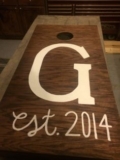 Handmade corn hole boards with monogram for wedding