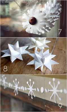 """Some cool paper snowflakes :) - Check out the book page trees! I understand they're """"hot"""" but I would like to use the same concept with silver, gold, and pearlized (sp?) papers"""