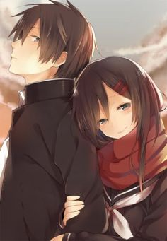 Anime picture 				554x800 with  		kagerou project 		shaft (studio) 		tateyama ayano 		kisaragi shintarou 		hutuumikan 		long hair 		tall image 		short hair 		blush 		brown hair 		smile 		brown eyes 		fringe 		sky 		cloud (clouds) 		looking away 		looking back 		profile 		holding 		girl