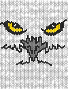 White Owl With Yellow Eyes bead pattern