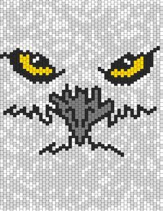 White Owl With Yellow Eyes Bead Pattern  peyote/brick stich, beading ideas