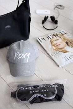 Homevialaura   Travel essentials: carry-on   Roxy cap   Porter Magazine   Longchamp bag