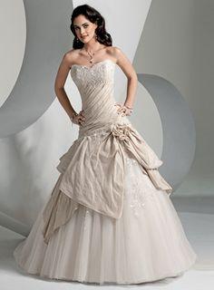 USD$229.13 - A-line Strapless Chapel Train Taffeta Wedding Dresses  - www.weddingdressbraw.com