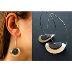 Earrings, Silver plated plate, Silver and black, Ohrringe, Silver 925 modern, young fashion, NEW, von DiesAndDas auf Etsy