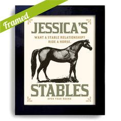Horse Art Framed Print Personalized with Your Stable Name. $38, via Etsy.
