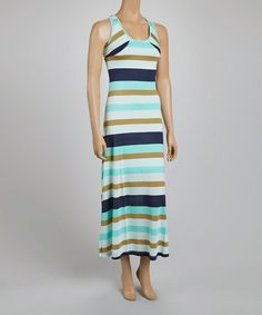 Another great find on #zulily! Mint Green & Olive Stripe Sleeveless Maxi Dress #zulilyfinds