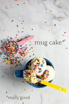 mug cake | Sheri Silver - living a well-tended life... at any age Self Rising Flour, Box Cake Mix, Coke Cans, Traditional Cakes, Sponge Cake, Vanilla Ice Cream, How To Make Cake, Sprinkles, Sweet Treats