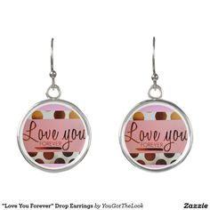 """Love You Forever"" Drop Earrings -  pink, gold, polka, dots, white, jewelry, earring, pretty, girly, feminine, cute, trendy, stylish, modern, circles"
