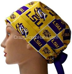 165b5c0d4c236 Women s Adjustable Fold-Up Pixie Surgical Scrub Hat Cap Handmade with LSU  Tigers Squares fabric