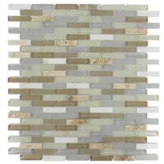 Cleveland Bainbridge Mini Brick 10 in. x 11 in. x 8 mm Mixed Materials Mosaic Floor and Wall Tile