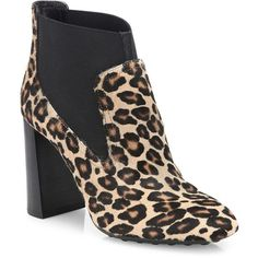Tod's Leopard-Print Calf Hair Block-Heel Booties ($1,000) ❤ liked on Polyvore featuring shoes, boots, ankle booties, apparel & accessories, square toe boots, bootie boots, leopard print booties, leopard ankle boots and slip on ankle boots