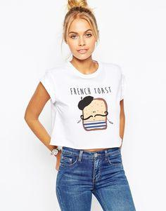 ASOS – Kurzes T-Shirt mit French Toast-Print