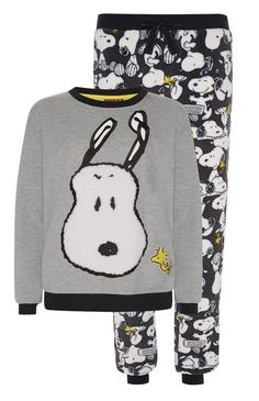 Primark - Grey Snoopy Sherpa PJ Twosie