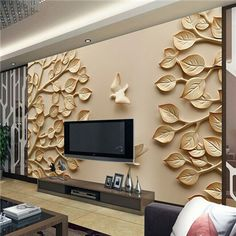 Wholesale papel de parede leaf trees pigeon wall mural TV background for bedroom room wall photo mural vinyl wall sticker Art Deco Wallpaper, Decor, 3d Wallpaper, Wall Murals, Contemporary Wall, Tv Wall Design, Wall Unit, Wall Design, Tv Wall Unit
