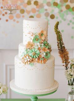 Playful Mint + Creamsicle #WeddingCake I Sugar Fancies