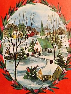 Details about Vintage Christmas Card~Snowy Village Scene~Houses and Church~People~Horses - Christmas Decorations🎄 Christmas Canvas, Old Christmas, Old Fashioned Christmas, Christmas Paintings, Victorian Christmas, Retro Christmas, Christmas Card Images, Vintage Christmas Images, Christmas Scenes