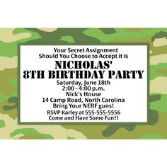 Camo Party Personalized Invitations