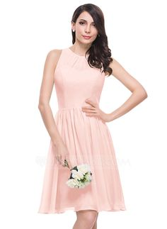 [US$ 108.99] A-Line/Princess Scoop Neck Knee-Length Chiffon Bridesmaid Dress With Ruffle