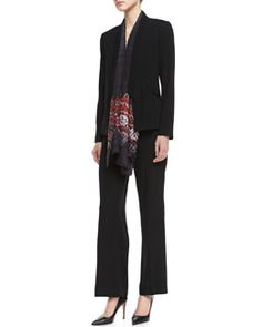 -4YR6 Eileen Fisher Tropical Suiting Open-Front Jacket, Silk Jersey Long Slim Camisole & Tropical Suiting Wide-Leg Trousers, Women's