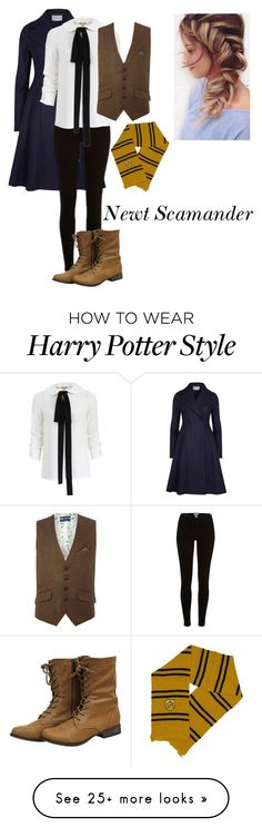 """""""Genderbend: Newt Scamander"""" by a-random-fandom on Polyvore featuring Harris Wharf London, River Island, Michael Kors and Ted Baker"""