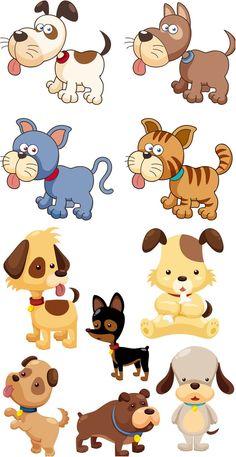 Vectors - Various Cartoon Dogs Cartoon Dolphin, Cartoon Fish, Cartoon Dog, Cat Vector, Free Vector Graphics, Images Kawaii, Cute Animals Images, Clip Art, Ginger Cats