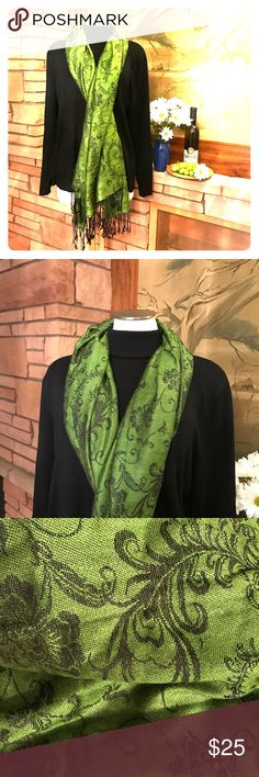 🍇 Green & Black Pashmina Scarf This is a beautiful green and black Pashmina scarf that is in EUC. 🍇 From a smoke-free and happy-to-bundle closet. 🍇 The black turtleneck is available in a separate listing. [T88] Pashmina Accessories Scarves & Wraps