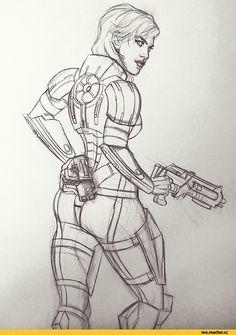скетчи,Femshep,ME персонажи,Mass Effect,фэндомы,EDI