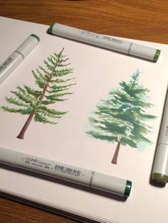 Evergreen watercolor style trees created with Copic markers