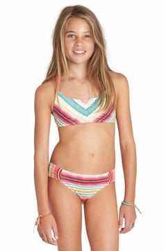 Billabong Girls Sea Side Flutter Two Piece Swimsuit Set