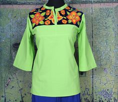 Lime Green & Blue Hand Embroidered Floral Blouse, Tehuana Mexico Blouse Hippie  #Handmade #Tunic
