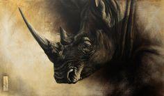 Steve Morvell Australian Wildlife Artist Charcoal engraving - painting southern white rhino