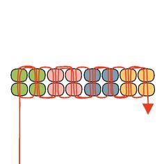 four-column herringbone stitch Bead Loom Patterns, Beaded Jewelry Patterns, Beading Patterns, Loom Beading, Bracelet Patterns, Beading Techniques, Beading Tutorials, Bead Crafts, Jewelry Crafts