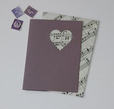 Sweet Music upcycled card with handmade envelope