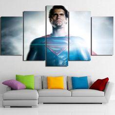 5 Pieces Justice League Superman Movie Wall Art Modular Canvas