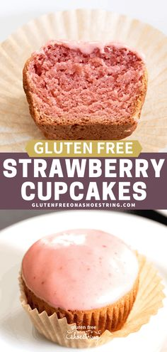 These tender and light gluten free strawberry cupcakes are flavored with cooked and pureed strawberry syrup, and topped with a strawberry glaze or frosting. Gluten Free Deserts, Gluten Free Sweets, Gluten Free Cakes, Foods With Gluten, Gluten Free Cooking, Sans Gluten, Strawberry Cupcake Recipes, Strawberry Glaze, Strawberry Recipes Gluten Free
