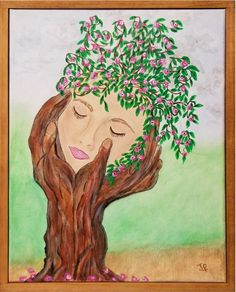 "Tree Face Framed Painting  11""x 14"" Acrylic on Canvas  FREE SHIPPING"