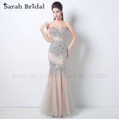 2016 Luxury Crystal Mermaid Evening  Dresses Custom Made Beading Sequins Floor Length Long Formal Dress Party Rode De Soiree #Affiliate