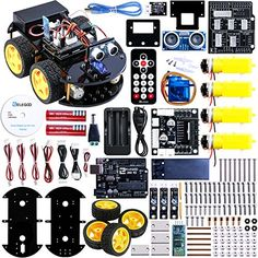 Elegoo Kit Voiture Robot V2.0 Arduino UNO Projet Car Avec Tutoriel en Français avec UNO R3 , Module de Suivi de Ligne, Capteur Ultrason,…