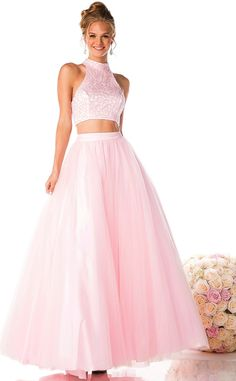 Prom Dresses Evening Dresses<BR>add8102<BR>High Neck Cutout Shoulder Two Piece Ball Gown