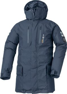 CAPE HORN PARKA NORTHERN NAVY    Windstopper parka with down insulation. The parka features several pockets with YKK water resistant zippers. It has a fixed adjustable hood.