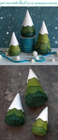Whip up some of these whimsical felt trees for a whole forest of winter woodland magic! A seasonal project that's simply adorable! Felt Crafts Diy, Felt Diy, Christmas Projects, Holiday Crafts, Fall Crafts, Felt Christmas Decorations, Felt Christmas Ornaments, Diy Ornaments, Beaded Ornaments