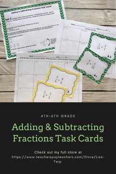 Use these task cards for adding and subtracting fractions Students complete an entrance slip to determine what set of cards they should start on Students practice adding. Adding And Subtracting Fractions, Improper Fractions, Whole Brain Teaching, Teaching Math, Teaching Ideas, Math Resources, Math Activities, Math Worksheets, Elementary Math