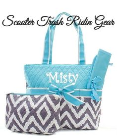 Diaper Bag Personalized Baby Tote Aqua Grey White Ikat Geometric Monogram New Strg Diaperbag