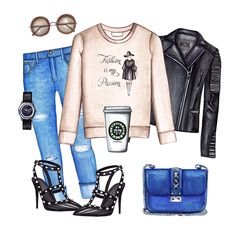 Fashion sweatshirt outfit. Cool fall outfit collage featuring Doll Memories sweatshirt, boyfriend jeans, biker jacket, Rockstuds pumps and blue bag