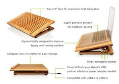 The latest green computer accessory to make the rounds is the EcoFan Pro, a bamboo wash-rack looking thing that is basically a slotted laptop stand made of bamboo with not one but two fans inside. If you need a laptop stand with two Laptop Cooler, Laptop Stand, Green Computing, Cooler Designs, Clean Technology, Office Gadgets, Computer Accessories, Macbook, Diy And Crafts